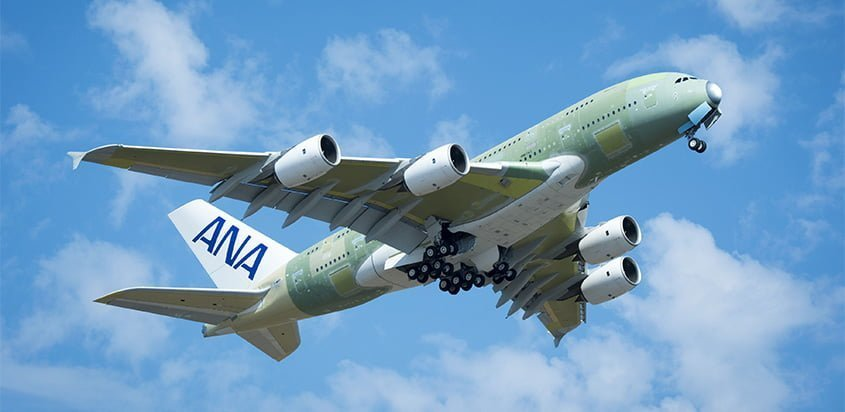 Vuelo inaugural del primer Airbus A380 de All Nippon Airways (ANA).