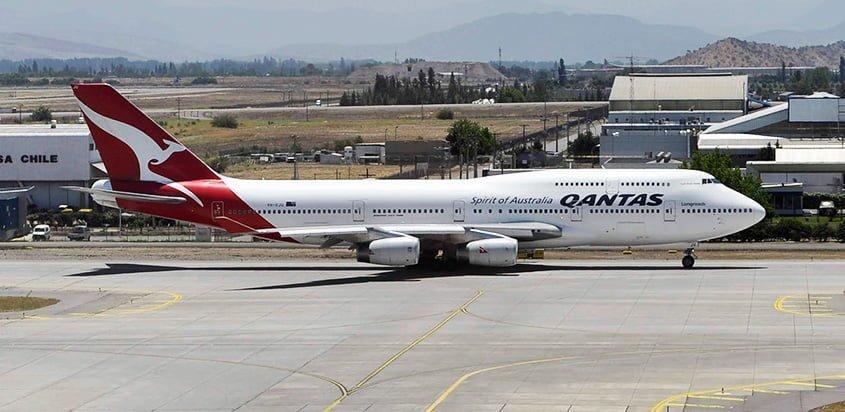 Boeing 747-400 de Lufthansa en Santiago de Chile.