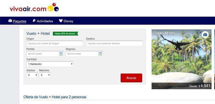 Vista de la página web de Viva Air con los nuevos paquetes de hoteles.
