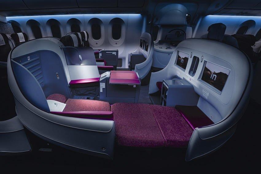 Asiento en Premium Business de un Boeing 787 de LATAM Airlines.