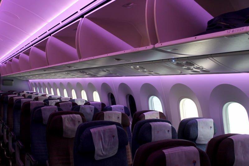 Clase económica de un Boeing 787 de LATAM Airlines.