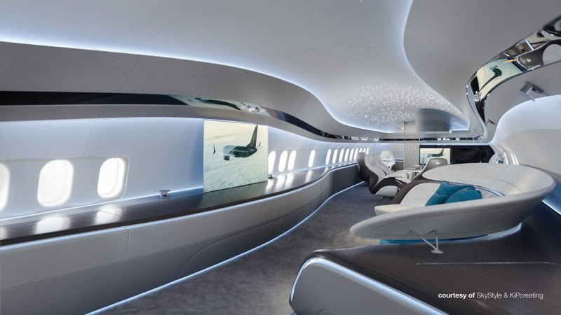 "Concepto interior ""Génesis"" en un Boeing Business Jet MAX."