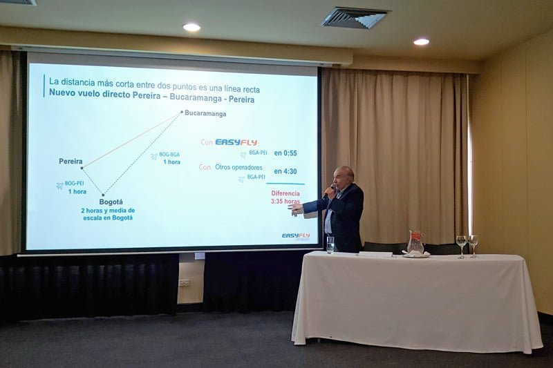 Alfonso Ávila, Presidente de EasyFly, en el lanzamiento de la ruta Bucaramanga-Pereira.
