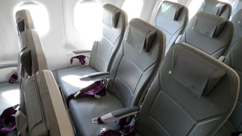 Interior del primer Airbus A320neo de SKY Airline.
