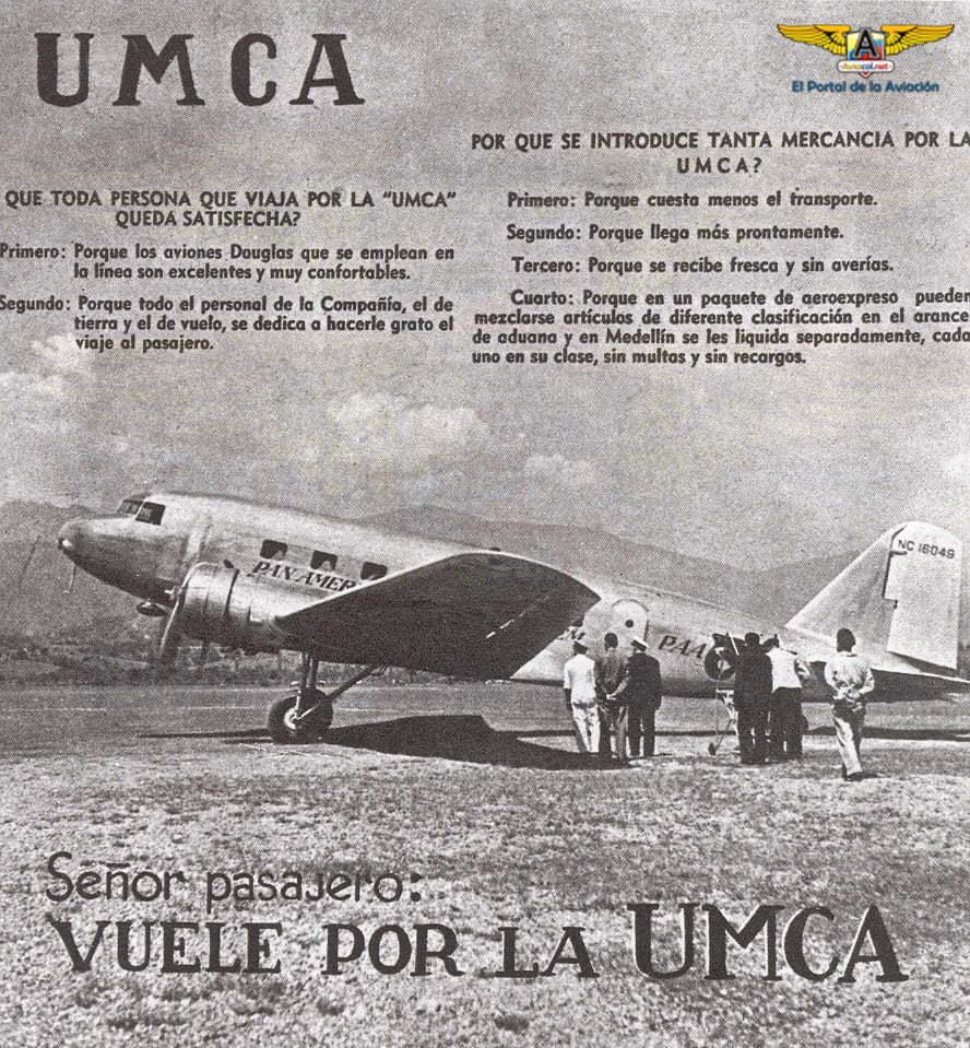 Publicidad de UMCA con un Douglas DC-2 de Pan American Airways.