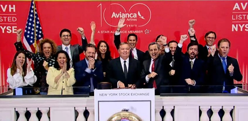 Equipo de Avianca en la Bolsa de Valores de Nueva York.