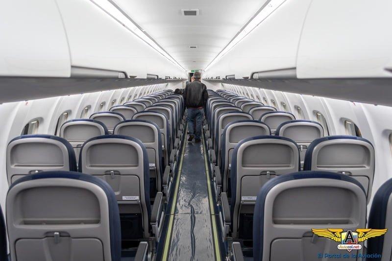 Interior del primer ATR 72-600 de EasyFly en su llegada a Bogotá.