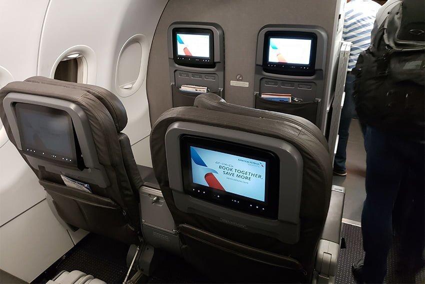 Clase ejecutiva del Airbus A319 de American Airlines.