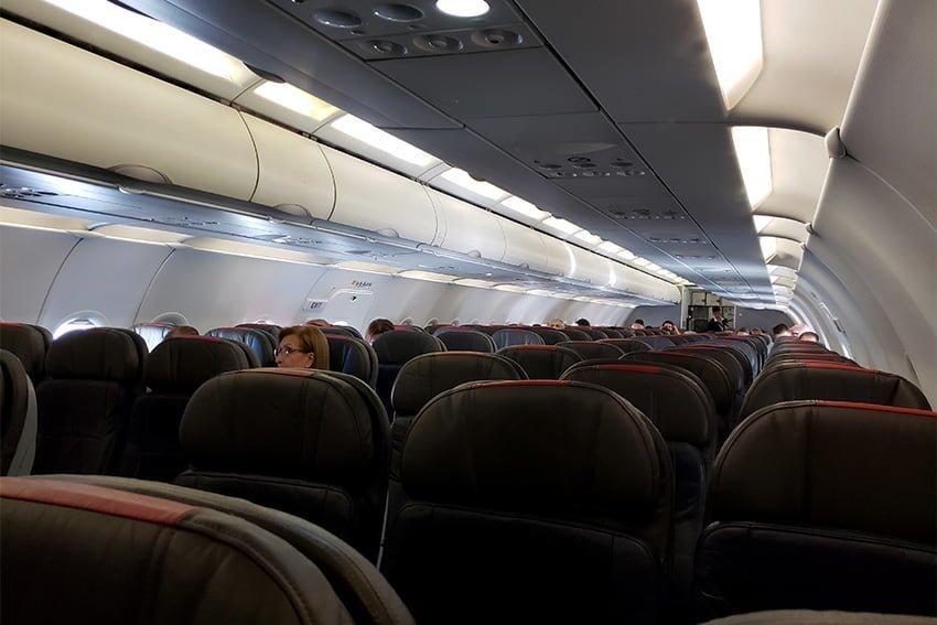 Ocupación del Airbus A319 de American Airlines en el vuelo inaugural de Pereira a Miami.