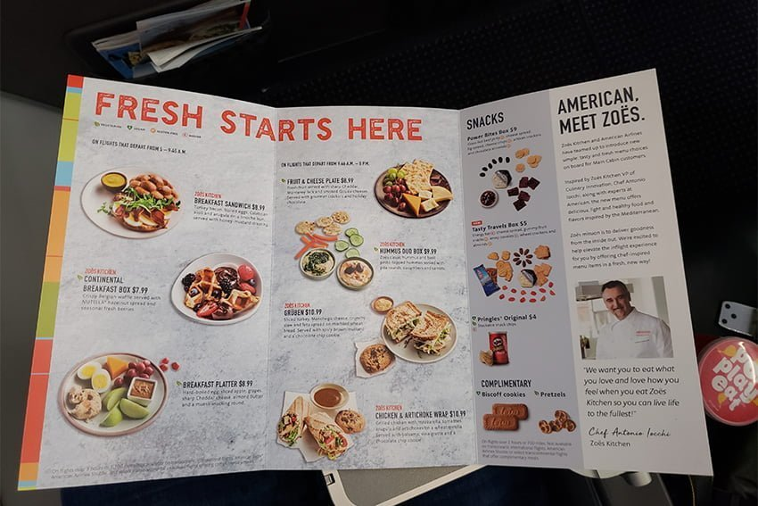 Menú a la venta de American Airlines para el vuelo entre Pereira y Miami.
