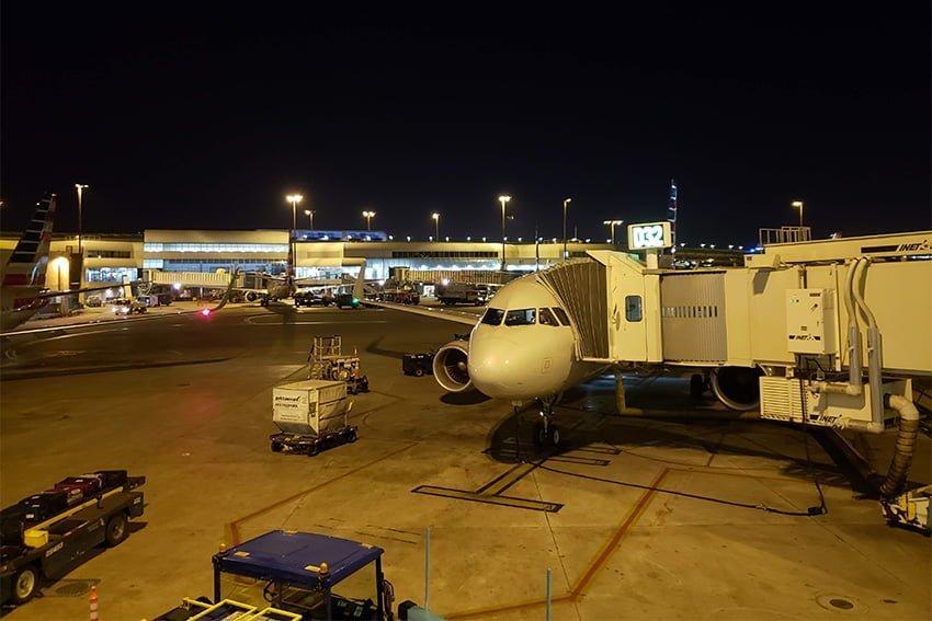 Airbus A319 de American Airlines en destino, luego del vuelo inaugural entre Pereira y Miami.