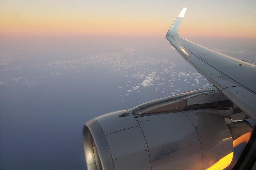 Volando sobre Cuba en un Airbus A319 de American Airlines.