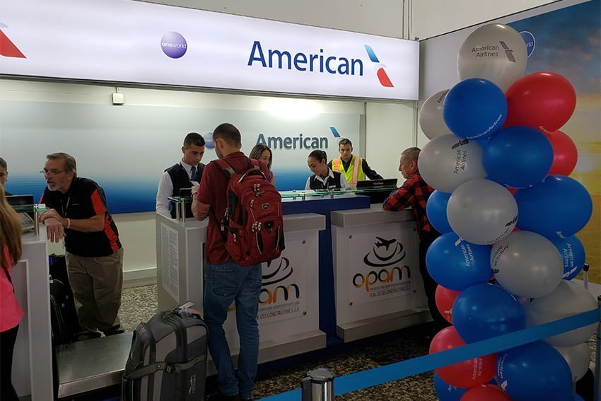 Área de check in de American Airlines en el Aeropuerto Matecaña de Pereira.