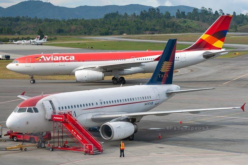 Airbus A330 de Avianca y Airbus A320 TACA en Medellin.