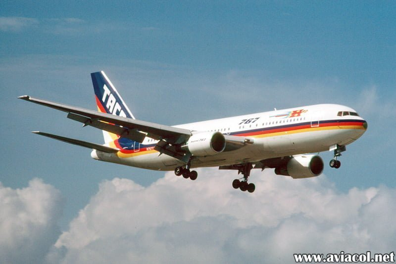 Boeing 767-200 de TACA matrícula N767TA aterrizando en Miami en 1986.