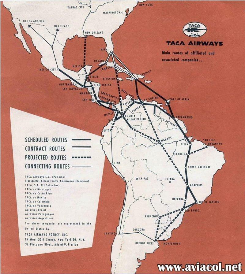 Mapa de rutas de TACA en 1945.