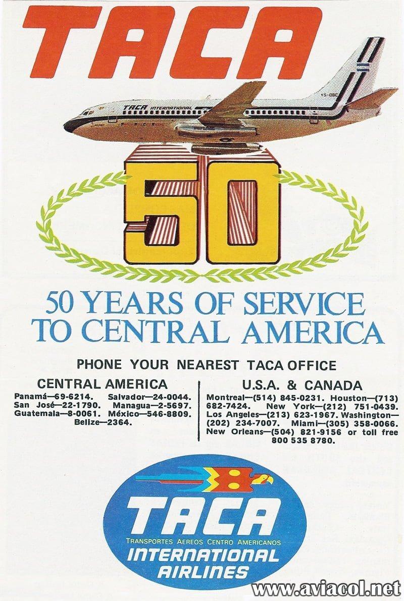Publicidad de TACA por sus 50 años.