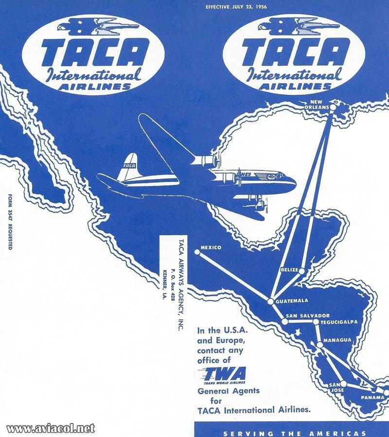 Mapa de rutas internacionales de TACA en 1957.