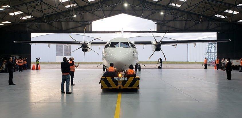 ATR 72-600 de EasyFly en su bienvenida a Bogotá.