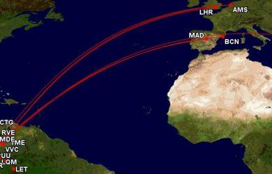 Mapa de rutas de Colombia.