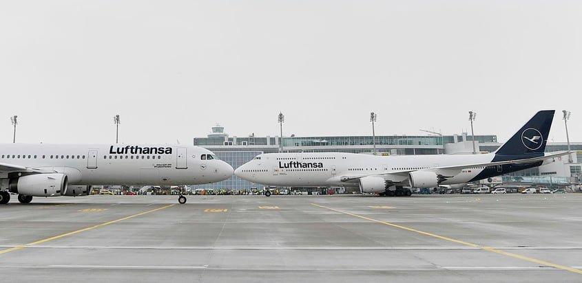 Airbus A320 y Boeing 747 de Lufthansa con la nueva imagen.