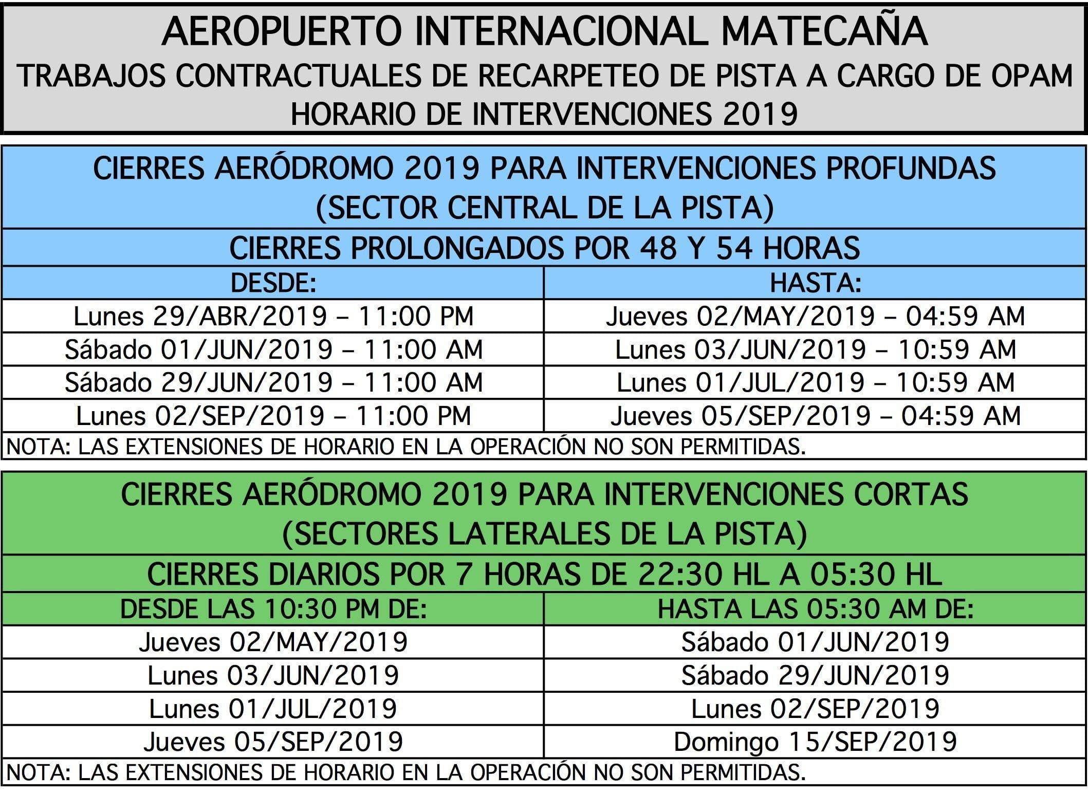 Fechas y horarios de cierre del Aeropuerto Matecaña de Pereira.