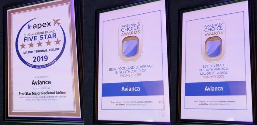 Reconocimientos de Avianca en Passenger Choice Awards 2019.