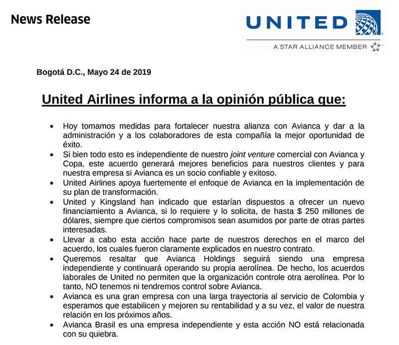 Comunicado United sobre transferencia de control de Avianca