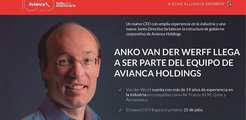 Anko van der Werff, nuevo CEO de Avianca.