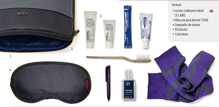 "Nuevos productos del ""amenity kit"" de Delta Air Lines."