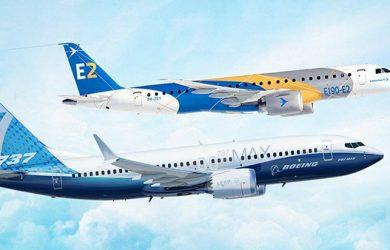 Prototipos de Boeing y Embraer en vuelo.