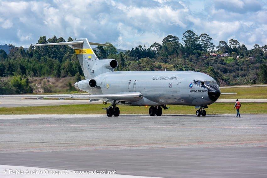 Boeing 727 de la FAC durante la F-AIR Colombia 2019.