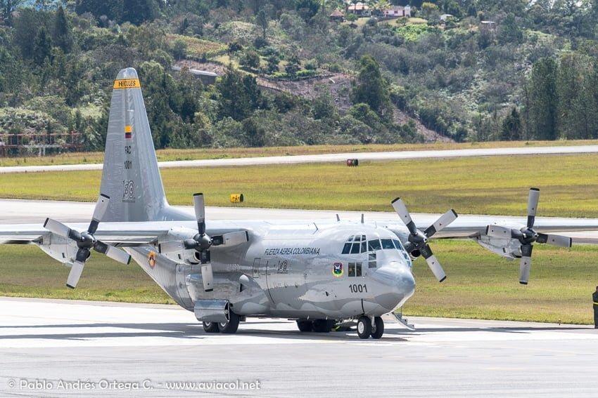 Hércules C130 de la FAC durante la F-AIR Colombia 2019.
