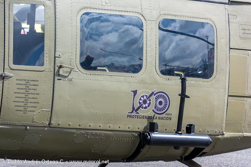 Helicóptero de la FAC durante la F-AIR Colombia 2019.