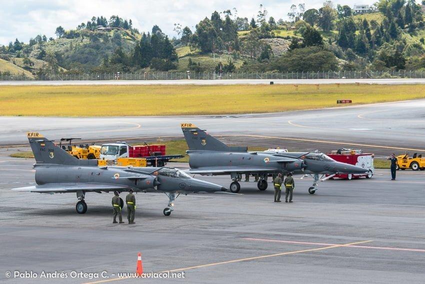 Kfir de la FAC durante la F-AIR Colombia 2019.