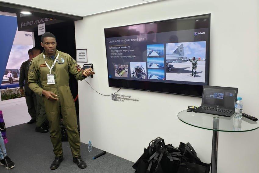 Presentación de Saab durante la F-AIR Colombia 2019.