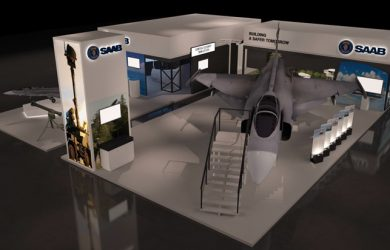 Maqueta del stand de Saab en F-AIR 2017.