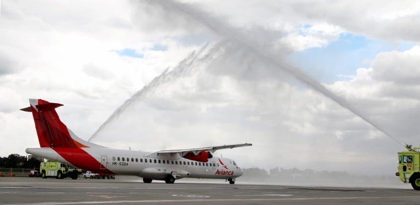 ATR72-600 de Avianca en el bautizo del vuelo entre Bogotá y Tumaco.