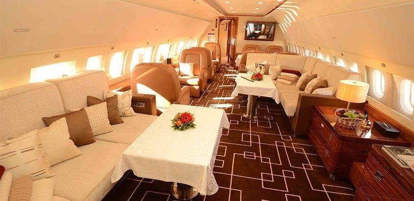 Interior del Airbus ACJ319 de MJet.