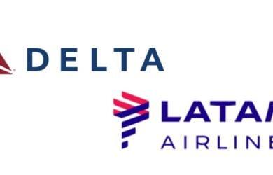 Logo de Delta y LATAM Airlines.