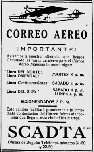 Correo Aéreo de Colombia en la historia.