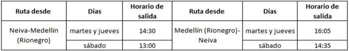 Itinerario de EasyFly entre Neiva y Medellín.