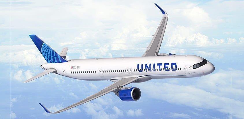 Airbus A321XLR de United en prototipo.