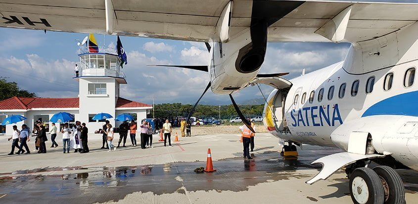ATR 42-600 de SATENA en el Aeropuerto Hacaritama de Aguachica, Cesar.