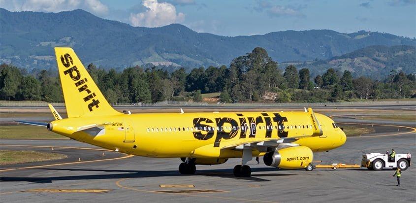Airbus A320 de Spirit Airlines en Rionegro, Antioquia.