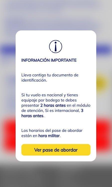 Pasabordo digital de Viva Air.