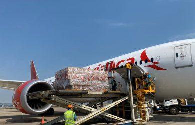 Transporte de carga humanitaria en vuelo de Avianca entre Colombia y China.