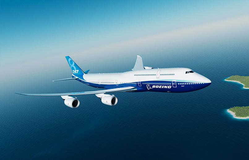 Boeing 747-8 en colores de Boeing.