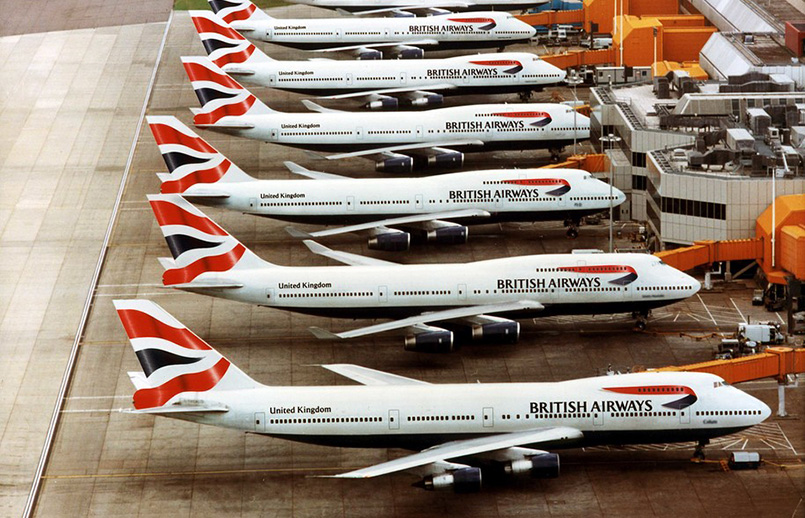 Flota de Boeing 747 de British Airways.