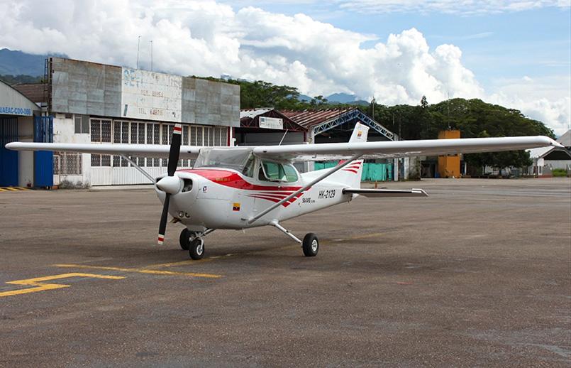 Cessna 172 de matrícula HK-2129 accidentado.